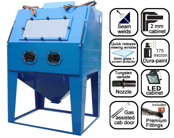AB1250 1.25m suction blast cabinet