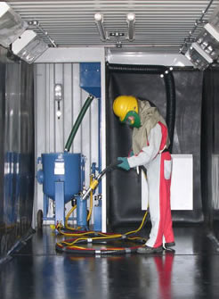 CBI Equipment supplier of containerised and portable blast rooms picture inside with pressure pot
