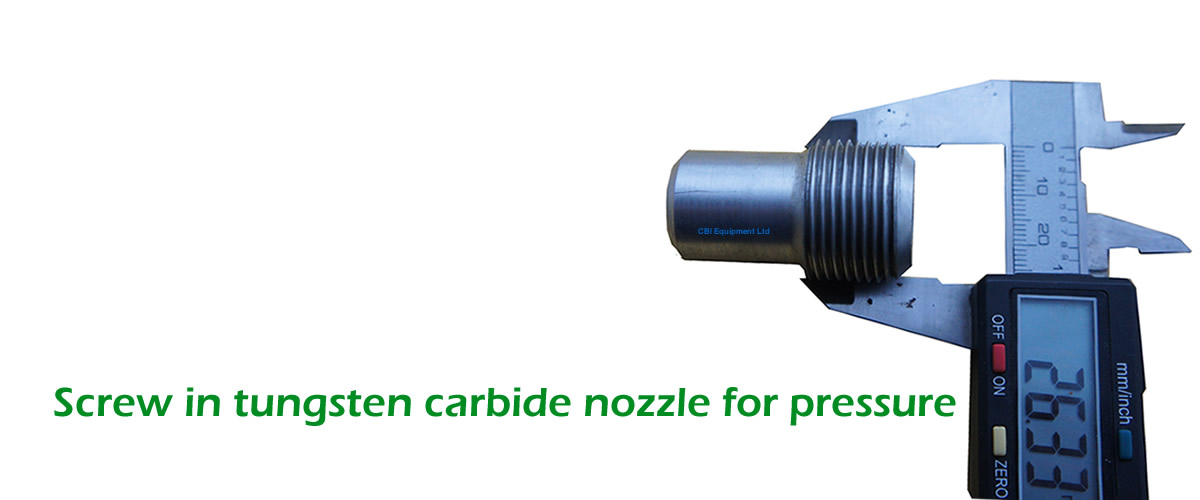 Screw in tungsten Carbide nozzle for pressure blasting