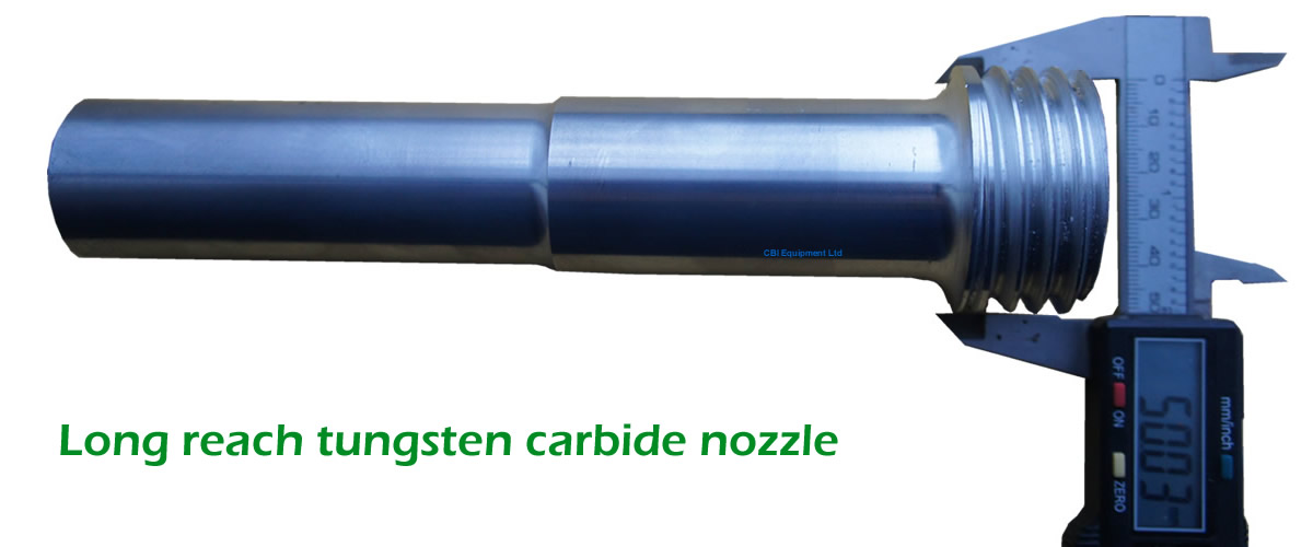 Long reach tungsten carbide blast nozzle