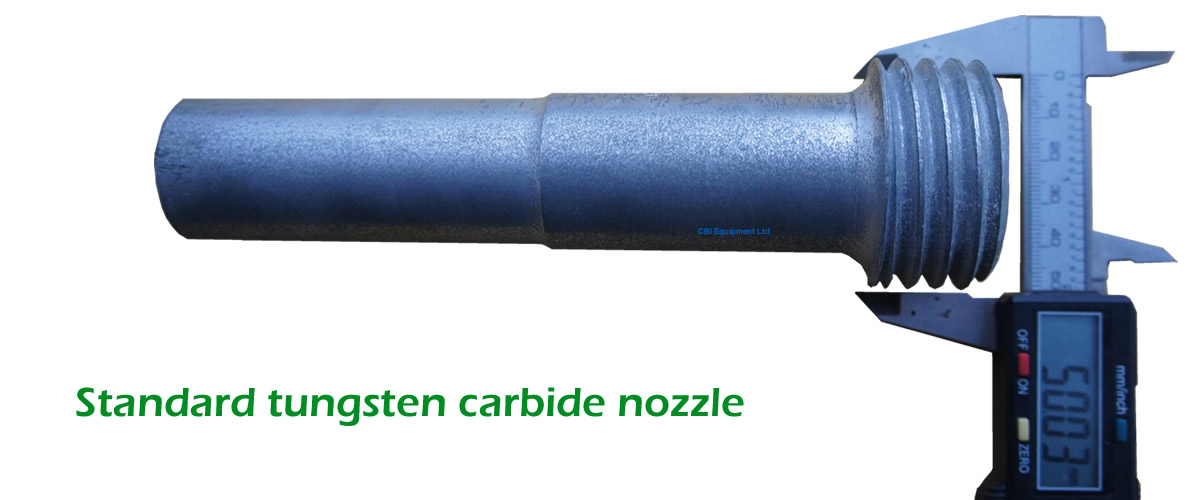 Standard Tungsten Carbide nozzle for mobile blast Pots